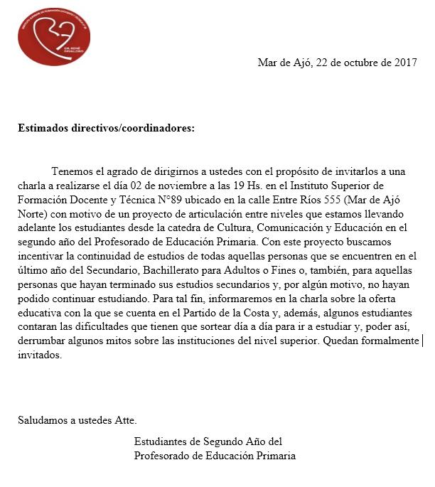 Carta de invitación estudiantes